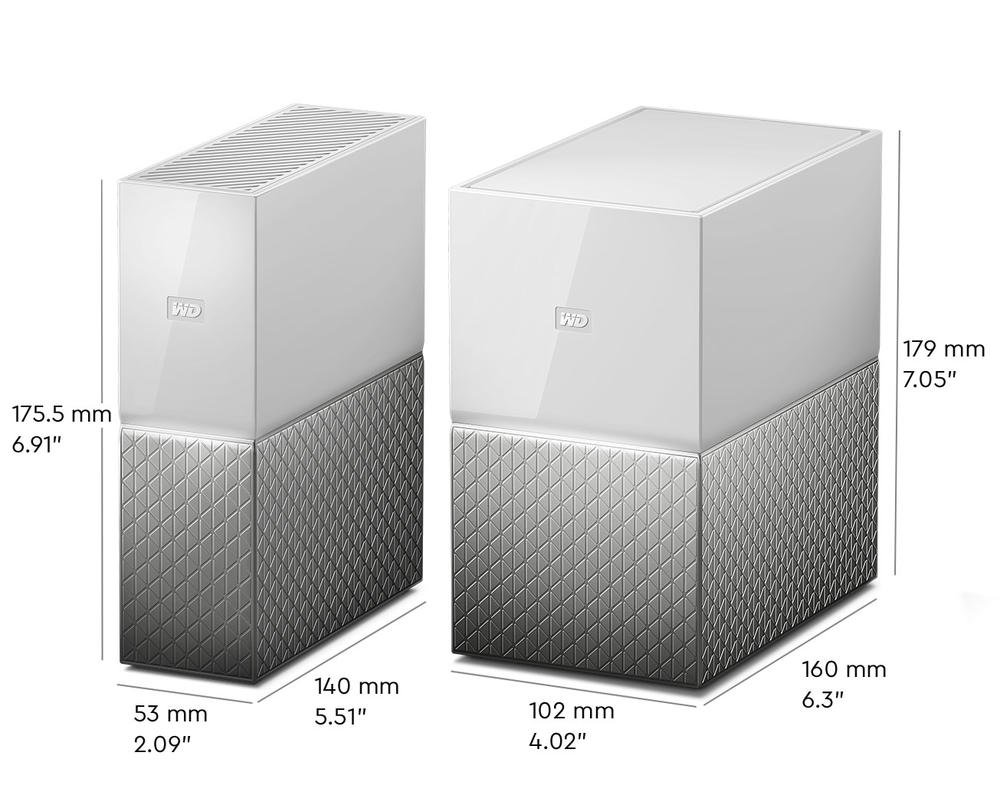 My Cloud Home and My Cloud Home Duo - Dimensions
