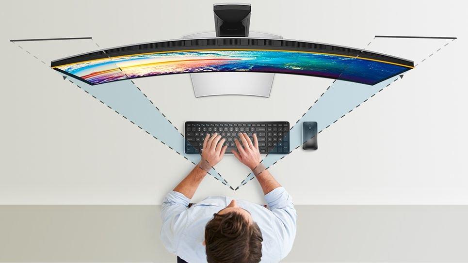 Извитият екран на Dell U3180DW осигурява уникален визуален фокус