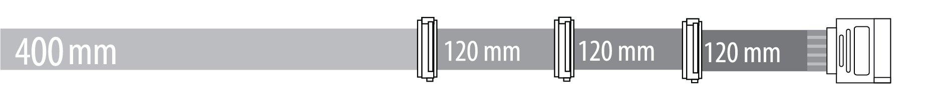 SATA 400 + 120 + 120 + 120 mm