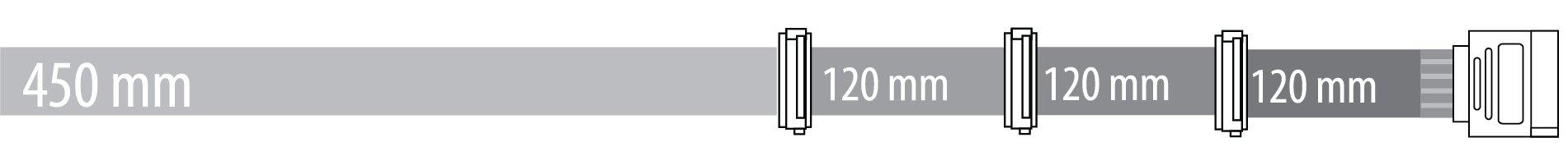 SATA 450 + 120 + 120 + 120 mm
