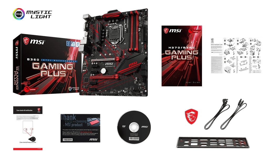 MSI B360 GAMING PLUS box content