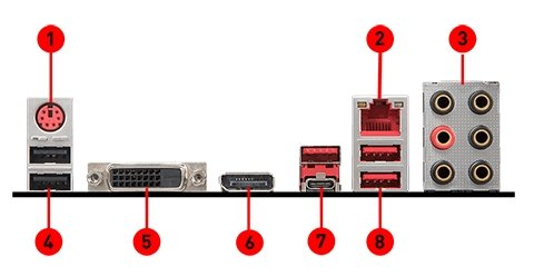 MSI H370 GAMING PLUS back panel ports