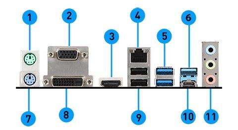MSI Z370 SLI PLUS back panel ports