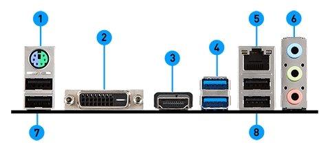 MSI H310-A PRO PLUS back panel ports