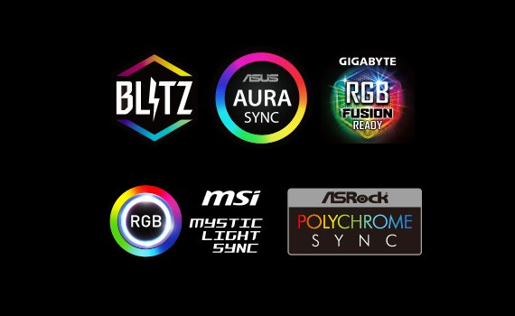 Support T-FORCE BLITZ, ASUS Aura Sync, GIGABYTE RGB Fusion, MSI Mystic Light Sync and ASRock Polychrome Sync