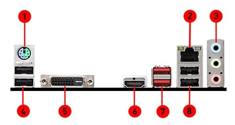MSI H310M GAMING ARCTIC back panel ports
