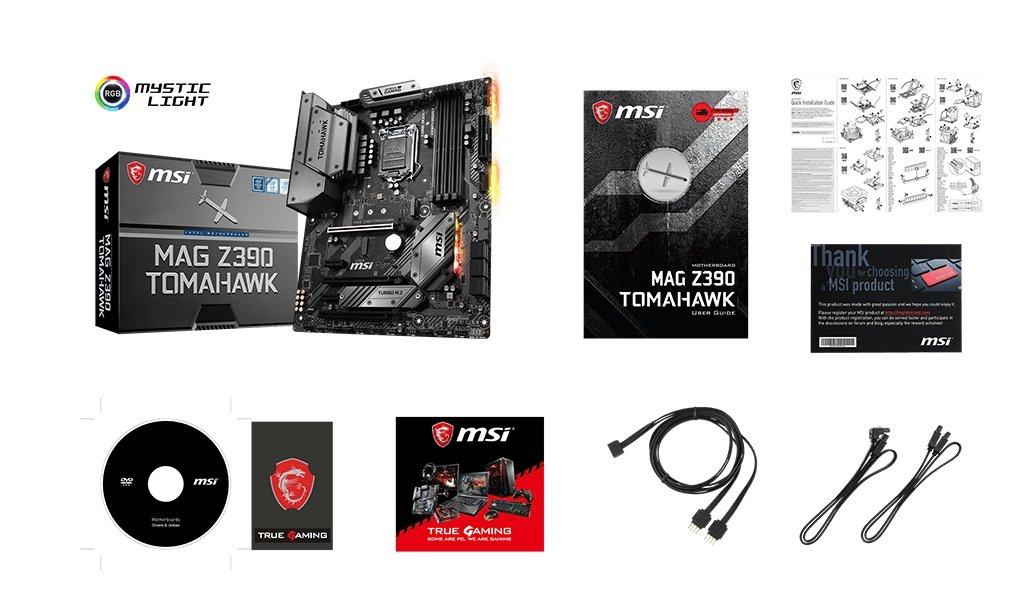 MSI z390 TOMAHAWK box content