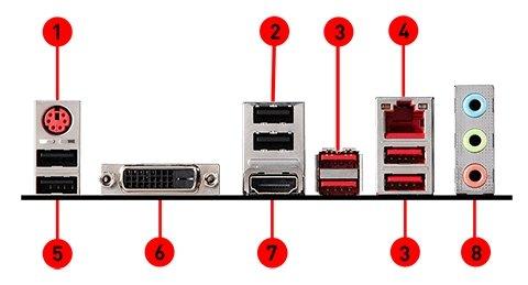 MSI B450M BAZOOKA v2 back panel ports