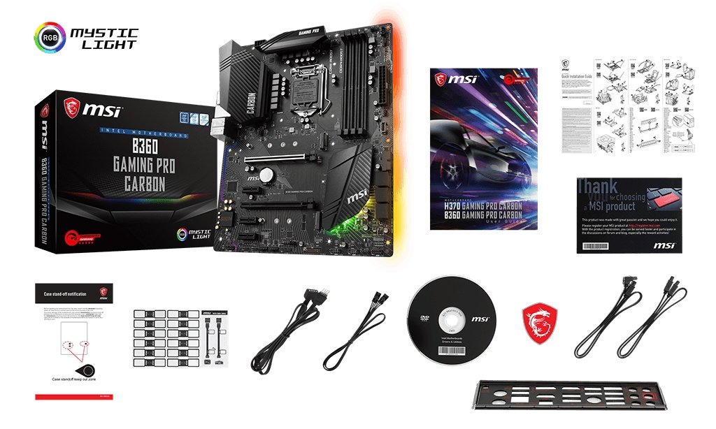 MSI B360 GAMING PRO CARBON box content