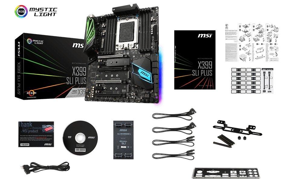 MSI MEG X399 SLI PLUS CREATION box content
