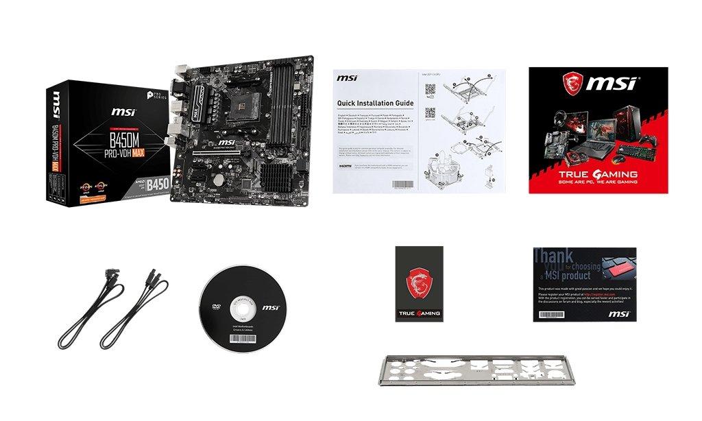 MSI  B450M PRO-VDH MAX Plus box content