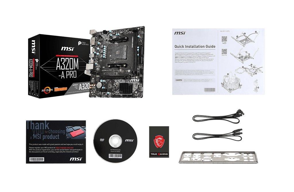 MSI A320M-A PRO box content