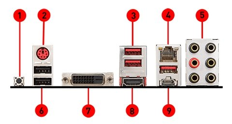 MSI B450 TOMAHAWK MAX back panel ports