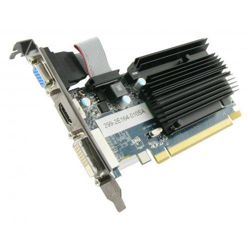Видео карта Ati Sapphire HD6450 1GB DDR3, 64bit, 625MHz/667MHz, PCI-E 2.1 x16, HDMI, DVI, VGA, VGA Heatsink, Bulk low profile (снимка 1)