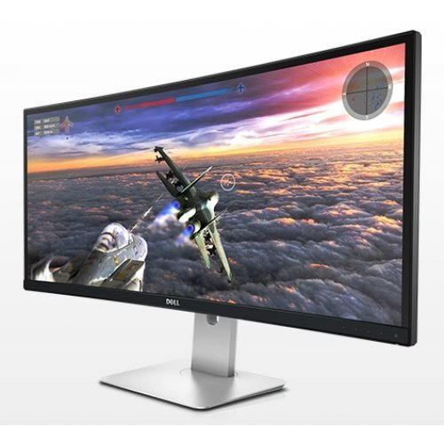 "Монитор Dell 34"" U3415W, 3440x1440, IPS LED, 5ms, 300cd/m2, HDMI vr2.0 MHL, Mini DisplayPort DP, DisplayPort DP 1.2, DisplayPort DP out MST, USB 3.0 Hub, 2x9W Speakers, Height Adjustable, Pivot, Swivel, Black (снимка 1)"