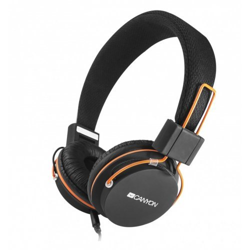 Слушалки Canyon CNE-CHP2, Headphones, 20Hz-20kHz, 32 Ohm, 113dB, detachable cable with microphone, foldable, Black (снимка 1)