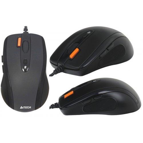 Мишка A4Tech N-70FX V-Track Padless Mouse, 1600 dpi, 7 buttons, USB, Black (снимка 1)
