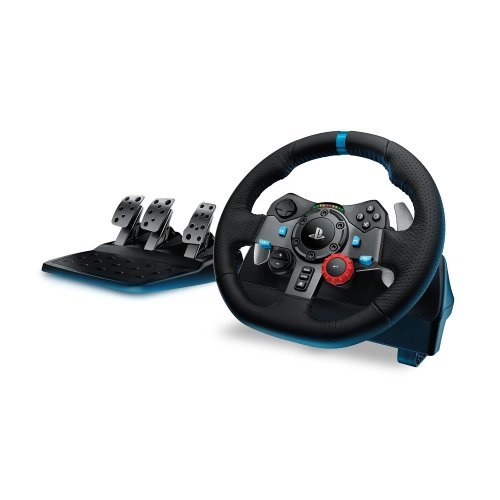 Волан Logitech G29 Driving Force Racing Wheel for PlayStation 4, PlayStation 3 and PC (works on your PC using Logitech Gaming Software), 900 degrees lock-to-lock, Package Contents: Steering wheel, Pedals, Power adapter, User documentation (снимка 1)