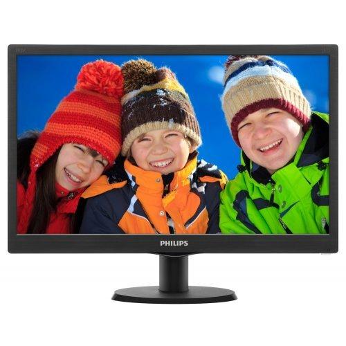 """Монитор Philips 19.5"""" 203V5LSB26, 1600x900, TN LED, 5ms, 200cd/m2, 90°/65°, VGA, Black (снимка 1)"""