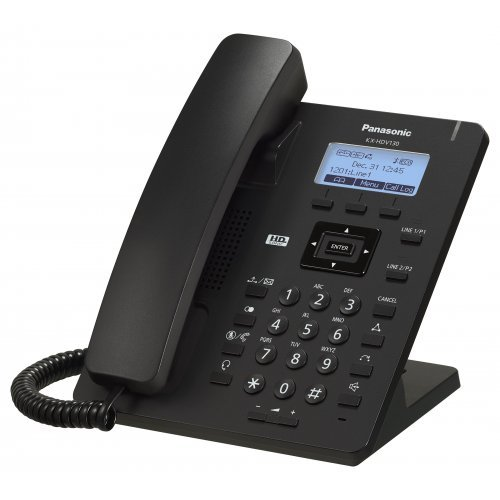 Panasonic KX-HDV130NE/NE-B Corded IP Phone, 2 SIP accounts, HD Voice (G.722), 3-way conference call support, Compatible with Broadsoft UC one, 2 x 10/100M ports, PoE, XML Application Interface, 2 Programmable keys, Plug and Play, Black (снимка 1)