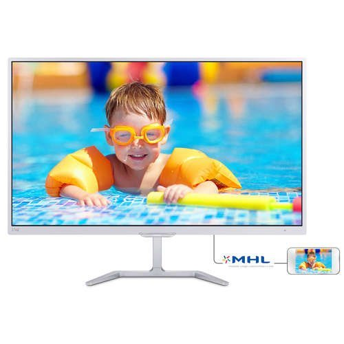 "Монитор Philips 27"" 276E7QDSW, 1920x1080, PLS LED, 5ms, 250cd/m2, VGA, DVI, HDMI MHL, White (снимка 1)"