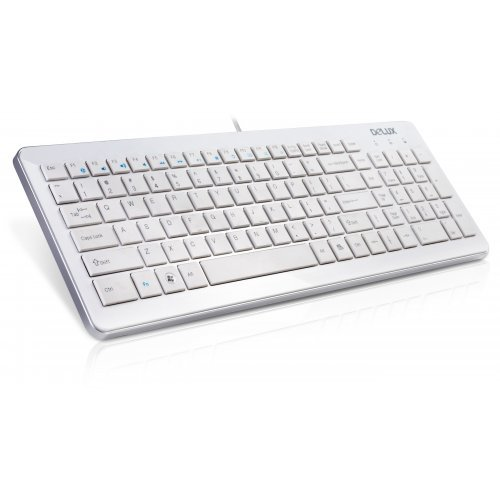 Клавиатура Delux DLK-1500U USB Slim Keyboard, 12 Functional buttons, White (снимка 1)