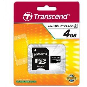 Secure Digital Card Micro 4GB Transcend, SDHC Class 4, 1xAdapter, TS4GUSDHC4 (снимка 1)