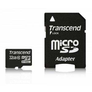 Secure Digital Card Micro 32GB Transcend, SDHC Class 10, Adapter, TS32GUSDHC10 (снимка 1)