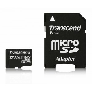 Secure Digital Card Micro 32GB Transcend, SDHC Class 10, Adapter, TS32GUSDHC10 (снимка 1)