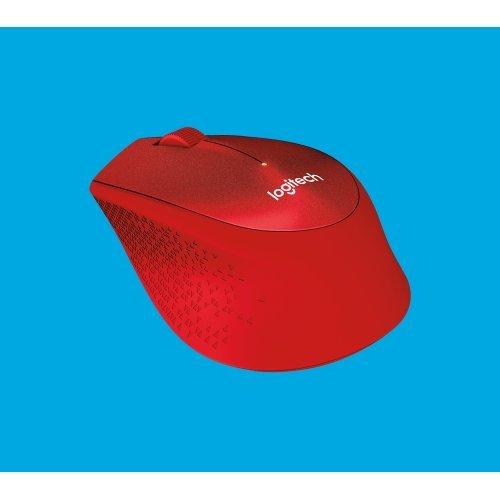Мишка Logitech Wireless Mouse M330 Silent Plus, 1000 dpi, EMEA, Red (снимка 1)
