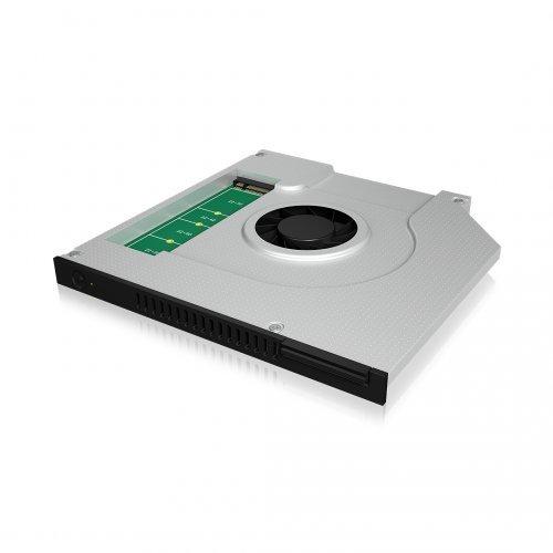 Заключващо устройство за лаптоп Raidsonic IB-AC647, M.2 SSD to SATA DVD Caddy, 9.5mm, Fan (снимка 1)