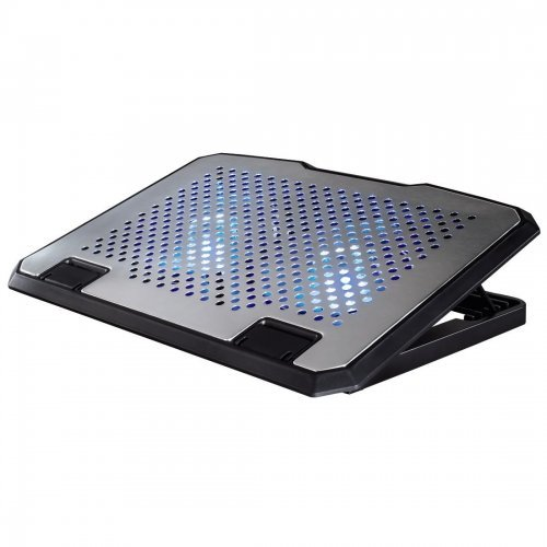 "Стенд за лаптоп Notebook Cooling Pad HAMA Aluminium, from 13.3"" to 15.6"" laptops, USB powered,140mm fans with blue light, 53064 (снимка 1)"
