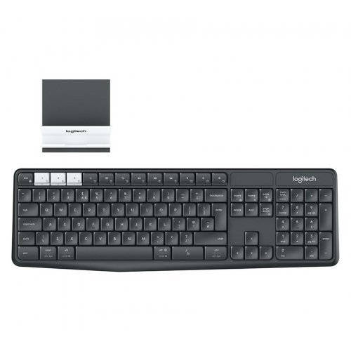 Клавиатура Logitech K375s Multi-Device Wireless Keyboard and Stand Combo, Logitech Unifying (2.4GHz) and Bluetooth Smart, Durable and spill resistant, Graphite/Offwhite (снимка 1)