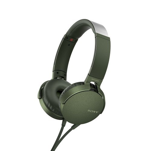 Слушалки Sony Headset MDR-550AP, 30mm Dome type drivers, 5-22 000 Hz, Smartphone compatible in-line remote and mic, 1.2m Y-type flat cable, Green (снимка 1)