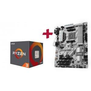 Дънна платка MSI B350 Tomahawk Arctic, B350, s.AM4 + AMD Ryzen 3 4C/4T 1300X, sAM4 (снимка 1)