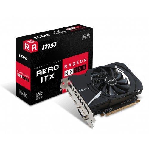 Видео карта Ati MSI RX 550 AERO ITX 2G OC, 2GB GDDR5, 128 bit, 1082MHz/7000MHz, PCI-E 3.0 x16, DVI-D, HDMI, DisplayPort, Sleeve Fan Cooler(Double Slot) Retail (снимка 1)