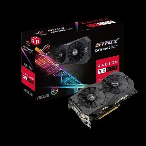 Видео карта Ati Asus ROG-STRIX-RX570-4G-GAMING, Strix RX 570, 4GB GDDR5, 256 bit, PCI-E 3.0, 2x DVI-D, HDMI, DisplayPort (снимка 1)