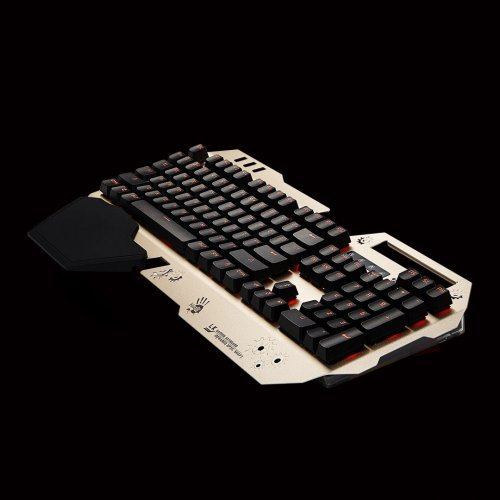 Клавиатура A4Tech Bloody B860 Full Light Strike Gaming Keyboard, 0.2ms Key Response, Optic Switch, Spill-resistant, 100% Anti-ghosting key, Neon Glare backlight, 1.8m USB cable, Gold (снимка 1)