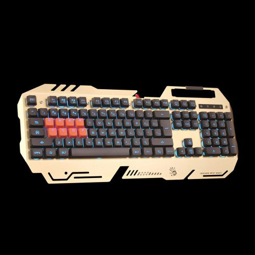 Клавиатура A4Tech Bloody B418, Mechanical Gaming Keyboard, Light strike 8-Infrared Swiches, 0.2 ms time for reaction, Zero Lag, USB, Gold (снимка 1)