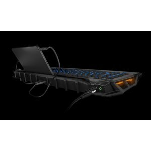 Клавиатура Roccat Skeltr Grey, Smart Communication RGB Gaming Keyboard, UK Layout, Universal device docking slot, 3 programmable thumbster keys, 5 programmable macro keys, Easy-Shift[+] with 20-key EasyZone, Bluetooth V3.0, 512kB memory + 32-bit Arm IC (снимка 5)
