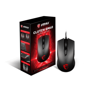 Мишка MSI Clutch GM40, Optical Gaming Mouse, PMW 3310 sensor, 1000 to 3600 dpi, 9 buttons, Red LED light, 2.0m braided USB cable, Black (снимка 1)