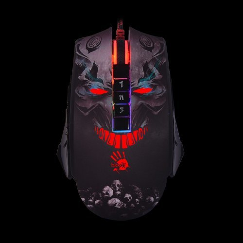 Мишка A4Tech Bloody P85 Skull, Light Strike 5K RGB Animation Optical Gaming Mouse, 5000 cpi, 4600 fps frame speed, 1.8m USB cable (снимка 1)