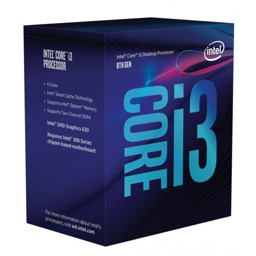 Процесор Intel Coffee Lake Core i3-8300, LGA1151, 3.7GHz, 8MB Cache, 14nm, 64 bit, 62W, GPU Intel UHD 630, Box (снимка 1)