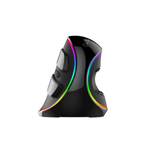 Мишка Delux M618 Plus RGB, Vertical Ergonomic Optical Mouse, 800 - 4000 dpi, 6 functional buttons, Anti-slip design Жична, Цветна подсветка (снимка 1)