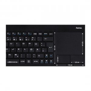 Клавиатура HAMA Uzzano 3.1, 173091, Compact Wireless Multimedia Keyboard, Integrated touchpad with 2 buttons,  USB for PC, laptop or smart TV, Black (снимка 5)