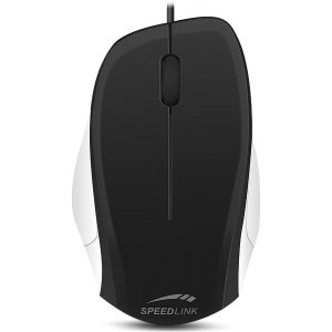 Мишка Speedlink Ledgy, Optical Mouse, wired, 3-button mouse, Ergonomic shape for right-handed use, 900dpi optical sensor, USB Cable: 1.3m, Black-White (снимка 1)