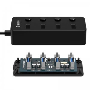 I/O модул Orico W9PH4-U3-BK, USB3.0 Hub, 4 Port, 4 On/Off Buttons (снимка 2)