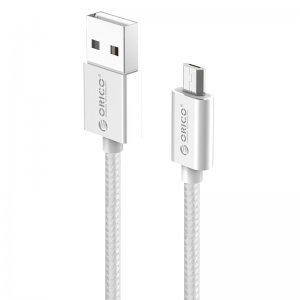 Кабел USB A M to Micro B M, 1.0m, 2.4A Charging, Silver, Orico EDC-10-SV (снимка 1)
