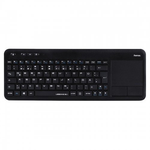 Клавиатура HAMA Uzzano 3.1, 173091, Compact Wireless Multimedia Keyboard, Integrated touchpad with 2 buttons, USB for PC, laptop or smart TV, Black (снимка 1)