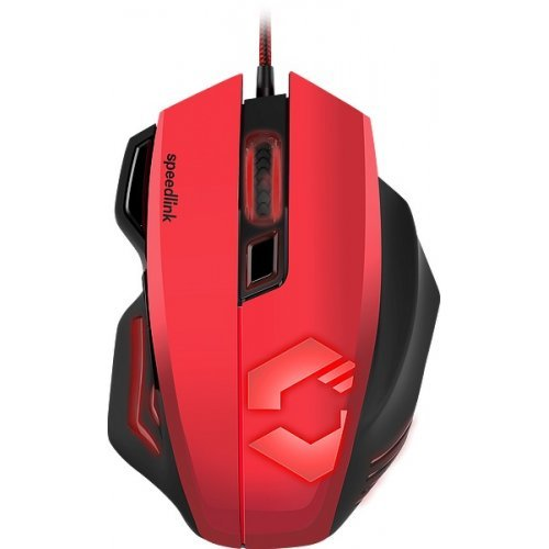 Мишка Speedlink Decus Respec, Optical Gaming Mouse, Fully customisable, sensor resolution from 400 to 5,000dpi, 7 programmable buttons, dpi switch, rapid-fire button, Internal memory 128Kb, polling rate-to 1,000Hz, Black-Red (снимка 1)